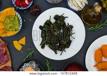 Table with spanish tapas - green padron peppers, jamon, croquetes, guacamole and olives, top view, picnic table