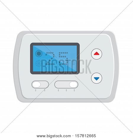Temperature controller electronic thermostat with a screen. Temperature control floor heating. Vector illustration on white background