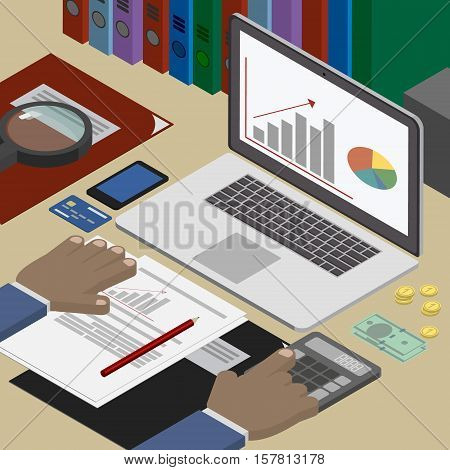 Accounting analyst at the workplace accounting documents. Business and Finance. Workplace isometric