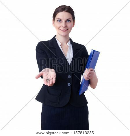 Smiling businesswoman standing over white isolated background with blue folder and key in hands, business, education, office, sale, real estate concept