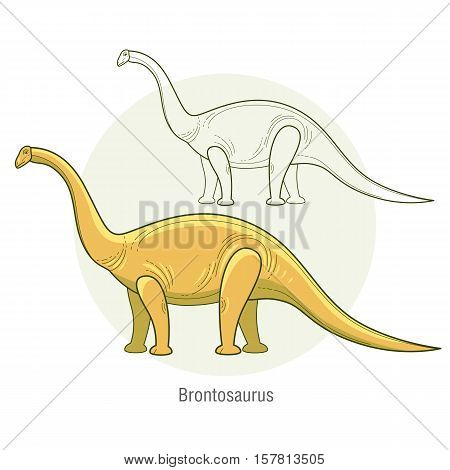 Brontosaurus. Ancient jurassic reptile vector illustration cartoon prehistoric dinosaur isolated on white background. Full-color flat images animal and abstract linear.