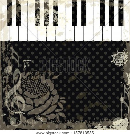 Music event piano template. Background with piano keys. Piano keyboard. Abstract background. Old rustic style.