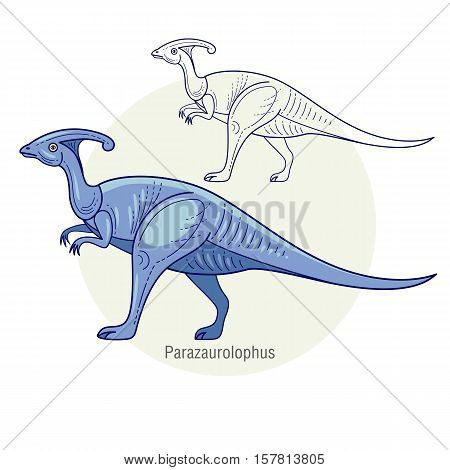 Parazaurolophus. Ancient jurassic reptile vector illustration cartoon prehistoric dinosaur isolated on white background. Full-color flat images animal and abstract linear.
