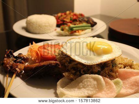 Nasi Goreng and Ikan Gurame bakar fried rice and grilled fish