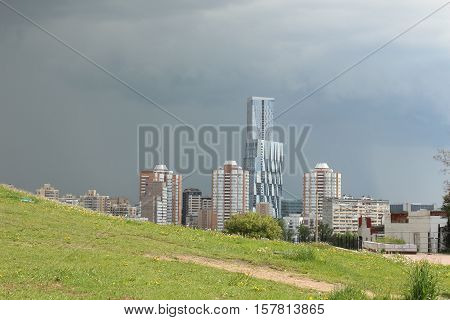 Moscow, Russia May 24, 2016 Impending storm on Moscow. Residential and office skyscrapers