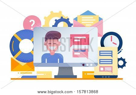 Customer Tech Support - vector modern flat design illustration with hand with support team member on computer display and technical symbols