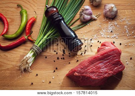 Piece Of Fresh Beef And Cooking Ingredients