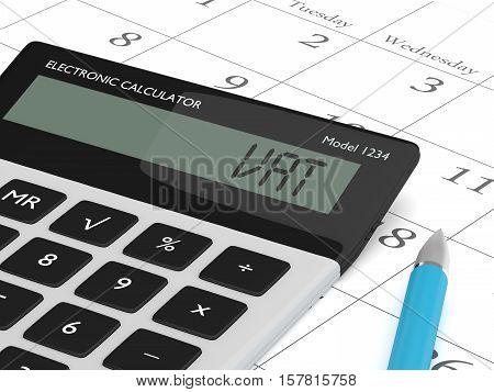 3D Rendering Of Calculator Wit Vat Text Nad Calendar