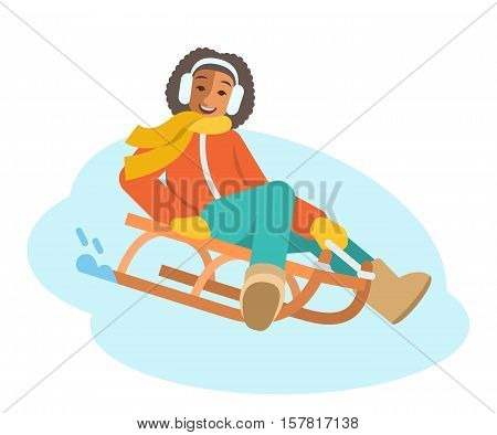 African girl sledding flat vector illustration. A child goes down the on a sled. Kids winter activities. Child in warm clothes playing snow winter games on Christmas holidays. Cartoon character