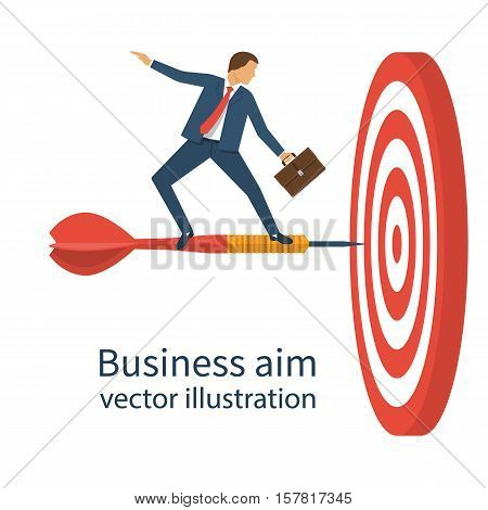 Businessman with briefcase standing on dart to achieve business goal concept. Aim in business. Vector illustration flat design. Smart solution to achieve mission. Direction victory. Aiming to target.