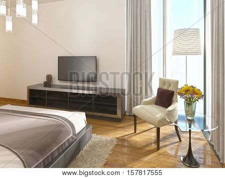 Modern Tv Unit In A Hotel Room Of Art Deco.