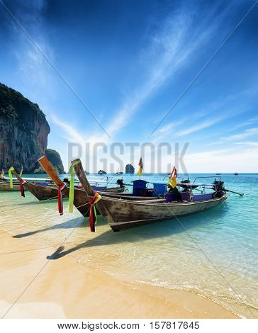 Thai Boats On Phra Nang Beach, Thailand