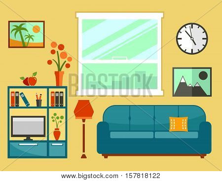 living room interior with furniture. apartment isolated furniture set for cozy furnishing home.