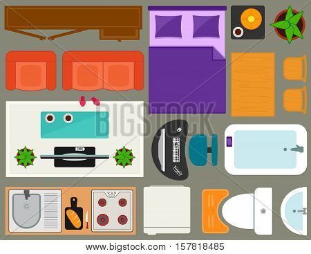 apartment furniture set overhead top view. set of isolated furnishing object for room interior in home.