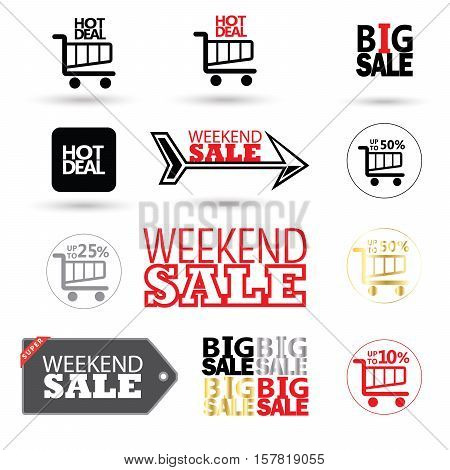 Sale price tags, labels, stickers, icons - set. Vector illustration. Sale discount banners and icons collection.