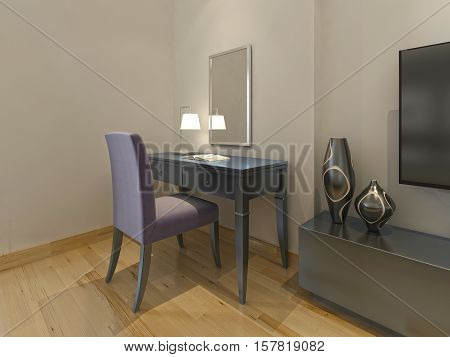Dressing Table With Chair And Mirror In Modern Hotel Room.