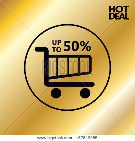 Sale discount poster, gold background. Vector illustration
