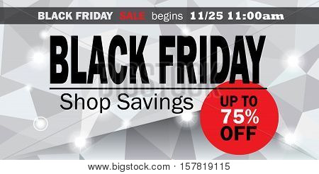Black Friday Sale discount banner, Black Friday Shopping card design for Sale offer event. Shopping price tag discount sign. Vector illustration with triangle geometric background. Advertising