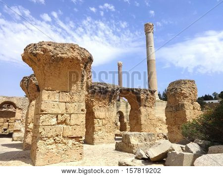 The ruins of Carthage in Tunisia. Ruins of capital city of the ancient Carthaginian civilization. UNESCO World Heritage Site