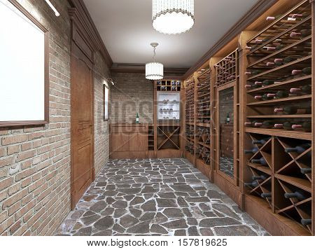 Wine Cellar In The Basement Of The House In A Rustic Style.