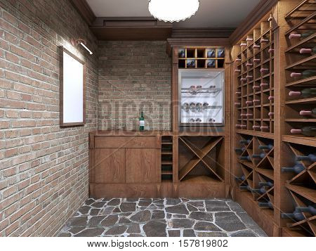Mockup White Poster On Brick Wall Wine Cellar.