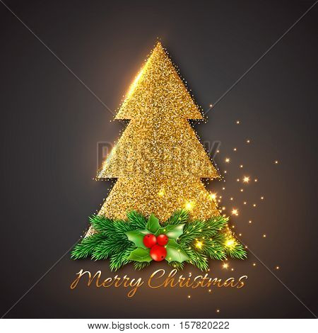 Golden fir-tree with Christmas decorative fir branches and holly. Gold glowing lights black background. Vector illustration.