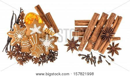 Christmas food ingredients. Gingerbread cookies and spices isolated on white background. Cinnamon sticks star anise vanilla and cloves