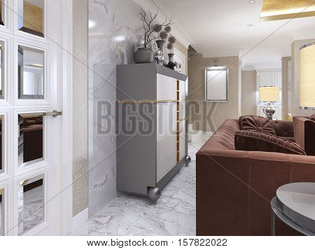 Silver Cabinet In The Living Room Art Deco.