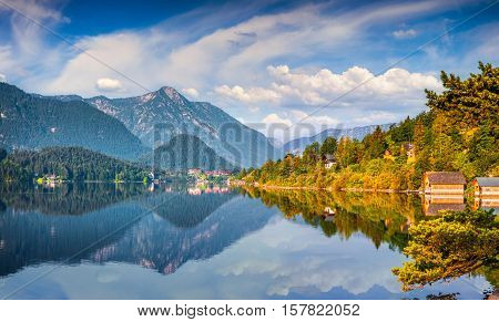 Specular Reflection At The Water Surface Of Blue Mountain In Grundlsee Lake.