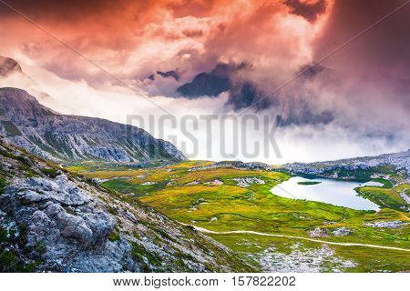 Foggy Summer Scene On The Lakes Del Piani