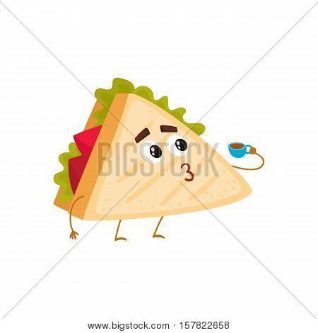 Funny club sandwich character holding a cup of tea, cartoon style vector illustration isolated on white background. Cute sandwich character with eyes, legs, and a wide smile