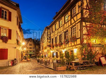 street of Petit France medieval district of Strasbourg at night, Alsace France