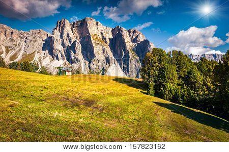 Summer Scene With Pizes De Cir Mountain Range