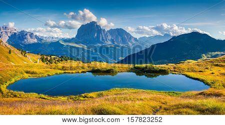 Panorama Of Gardena Valley With Sassolungo (langkofel) Mountain Range