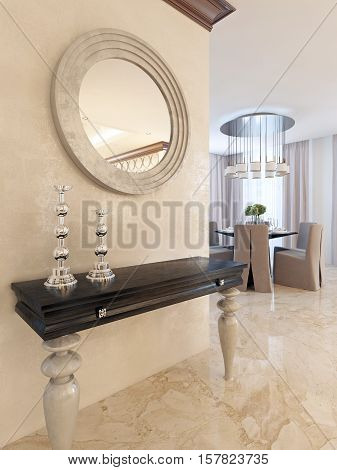 Console With Mirror On The Wall In The Dining Area, In The Style Of Art Deco.