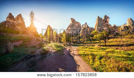Unreal World Of Cappadocia. Early Morning In The Uchisar Castle Neighborhood. Sunrise In Famous Uchi