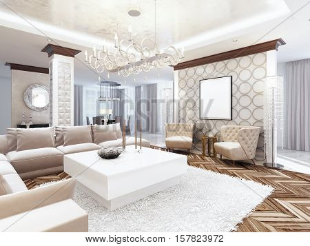 Luxurious Large Living Room Style Art Deco.