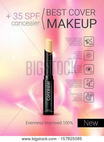 Concealer stick ads. Vector Illustration with foundation Concealer.