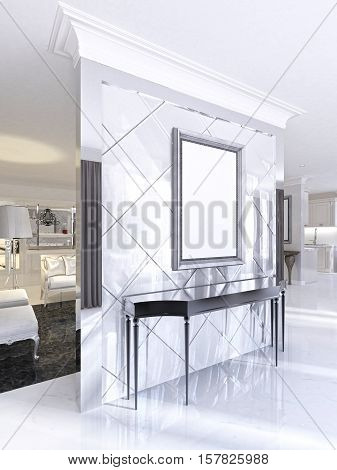 Black Console With Mirrored Wall Painting In The Living Room.