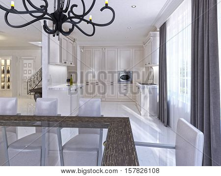 Classic White Kitchen-dining Room In The Style Of Art Deco.