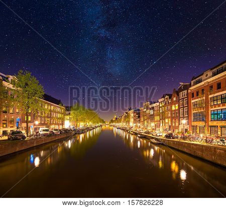 Beautiful Calm Night View Of Amsterdam City.