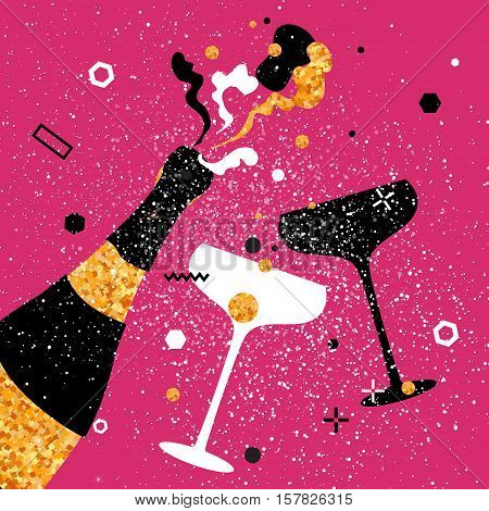 Champagne flutes - vintage couple and bottle with golden glitter elements on pink background. Cheers - Clinking glass silhouette. Cheerful holiday. Alcoholic beverages. Concept party celebration.