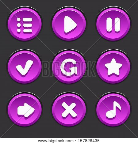 Set of vector purple buttons to play, pause, menu, arrow, music, restart