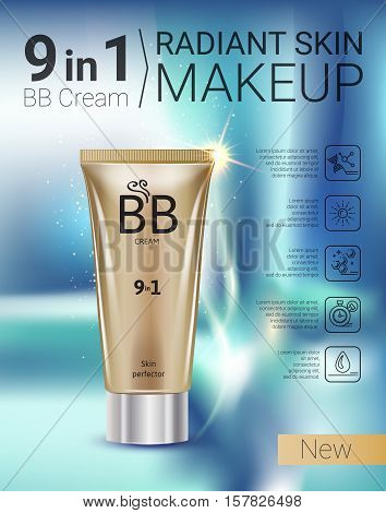B.B. cream ads. Vector Illustration with makeup foundation tube