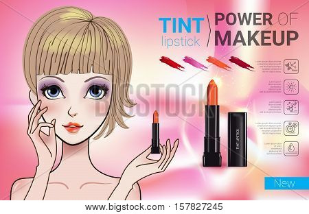 Tint lipstick ads. Vector Illustration with Manga style girl and makeup lipstick product.