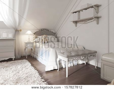Children's White Bed With Blanket And Pillows In Art Deco Style.