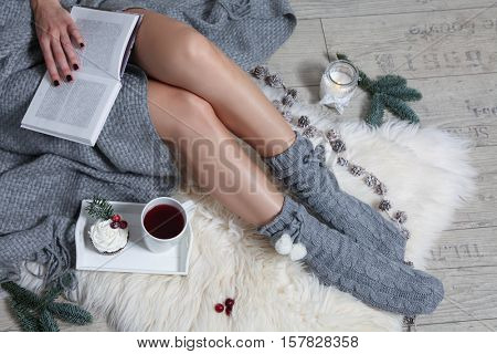 cute young girl drinking tea