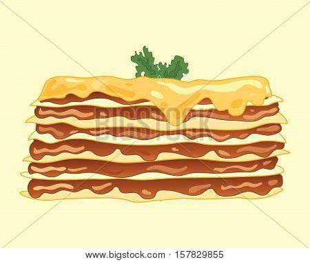an illustration of a home made lasagna meal with layers of golden pasta mince beef and a melted cheese topping with garnish on a pale background