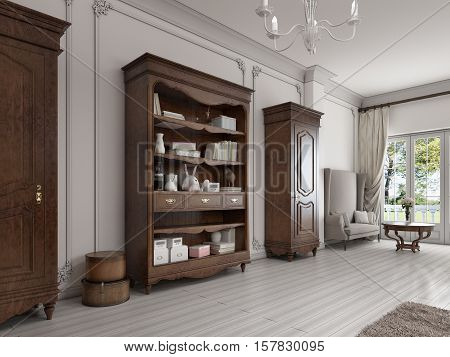 Two Classic Wardrobe And Shelving Brown Colors With Books And Decor.