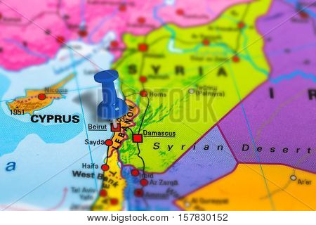 Beirut in Lebanon pinned on colorful political map of Asia. Geopolitical school atlas. Tilt shift effect.